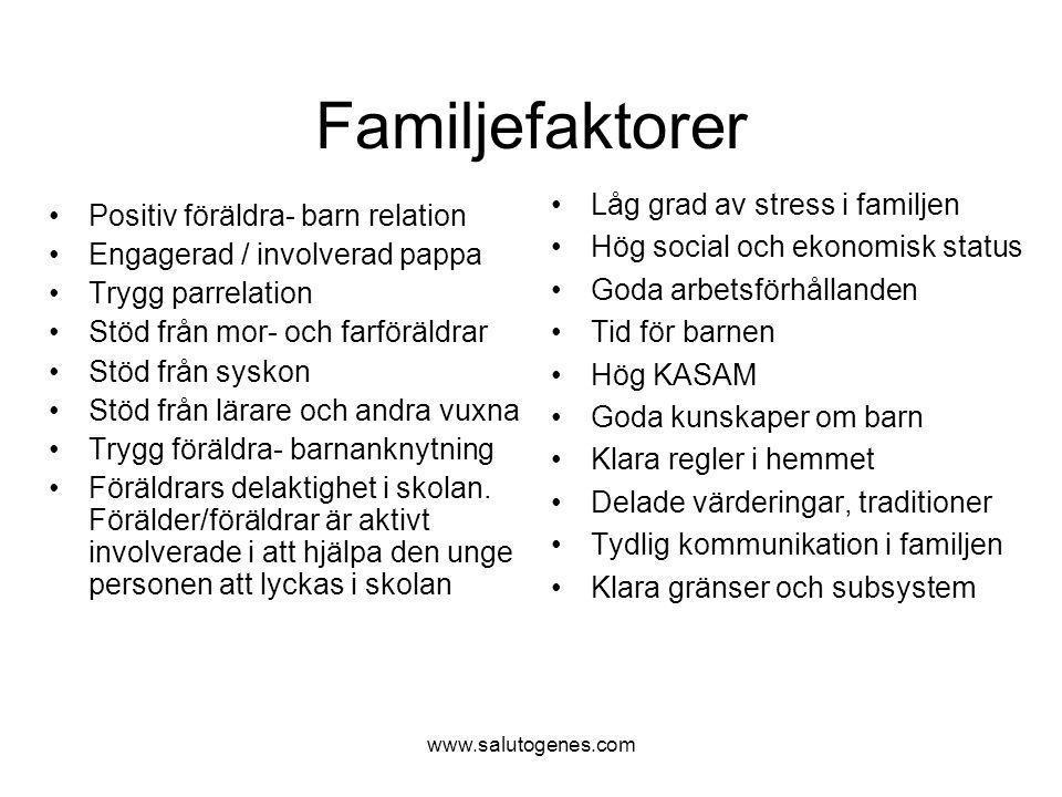 Familjefaktorer Låg grad av stress i familjen