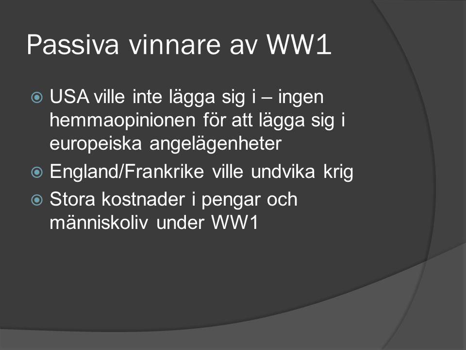 Passiva vinnare av WW1 USA ville inte lägga sig i – ingen hemmaopinionen för att lägga sig i europeiska angelägenheter.