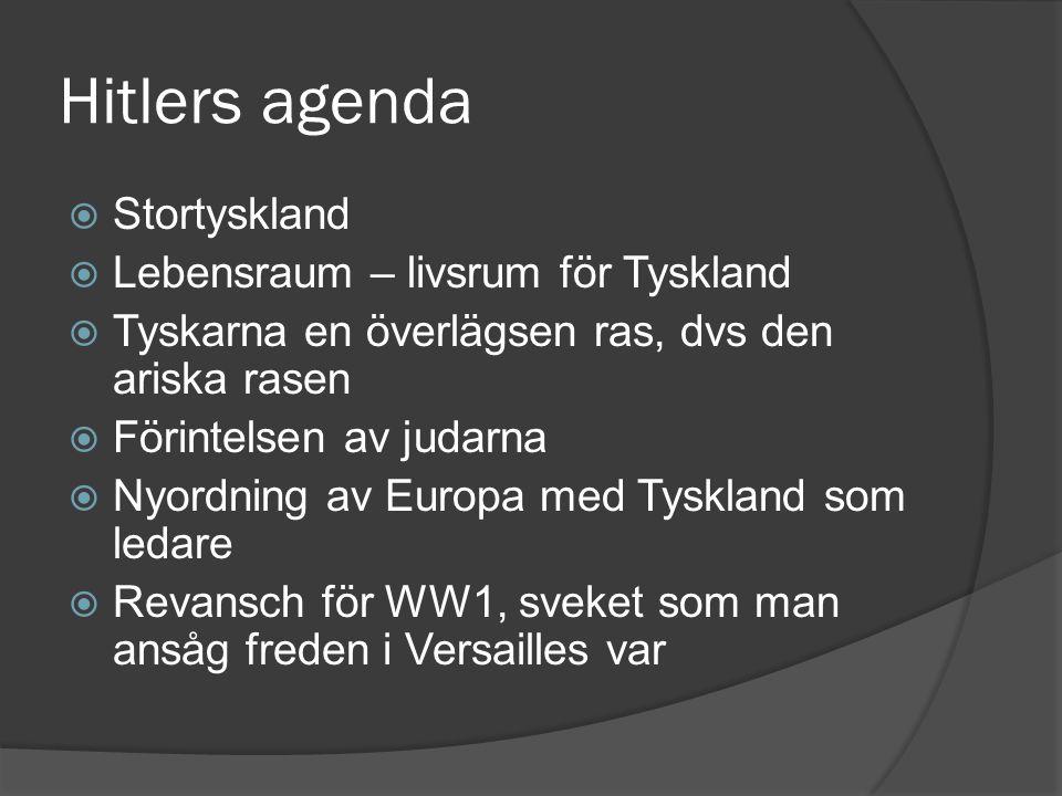 Hitlers agenda Stortyskland Lebensraum – livsrum för Tyskland