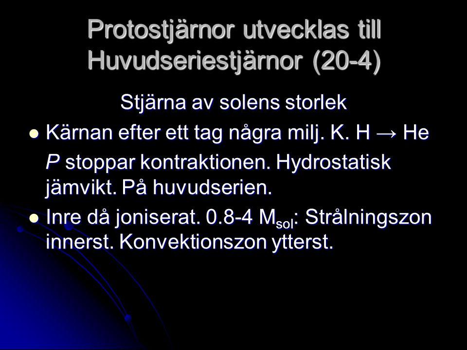 Protostjärnor utvecklas till Huvudseriestjärnor (20-4)