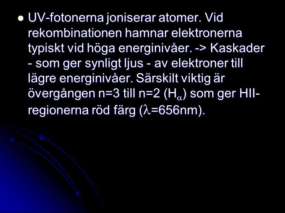 UV-fotonerna joniserar atomer