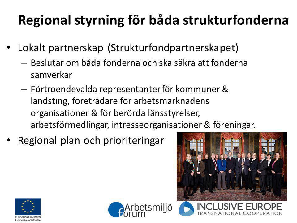 Regional styrning för båda strukturfonderna