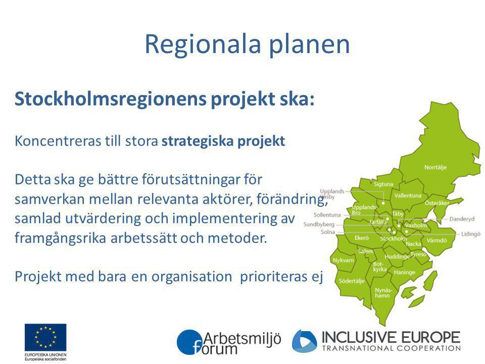 Regionala planen Stockholmsregionens projekt ska: