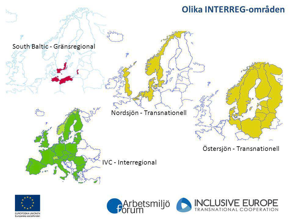Olika INTERREG-områden
