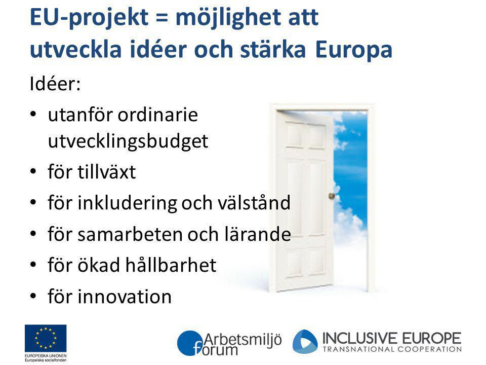 EU-projekt = möjlighet att utveckla idéer och stärka Europa