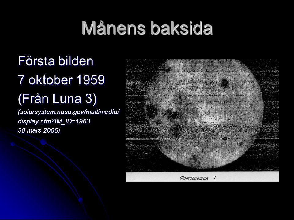 Månens baksida Första bilden 7 oktober 1959 (Från Luna 3)