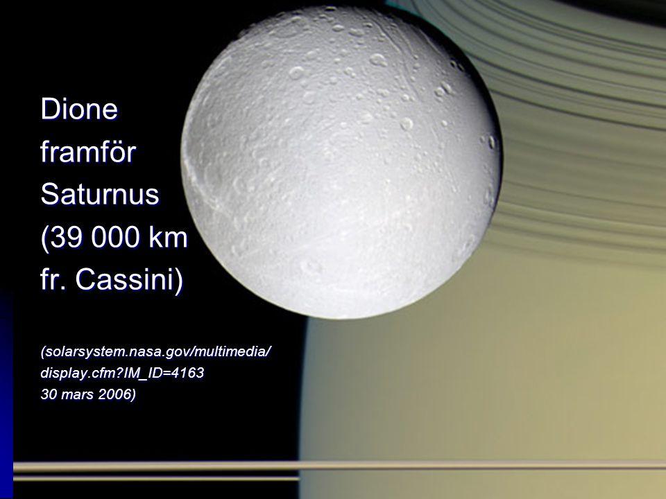 Dione framför Saturnus (39 000 km fr. Cassini)