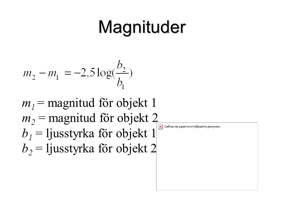 Magnituder m1 = magnitud för objekt 1 m2 = magnitud för objekt 2