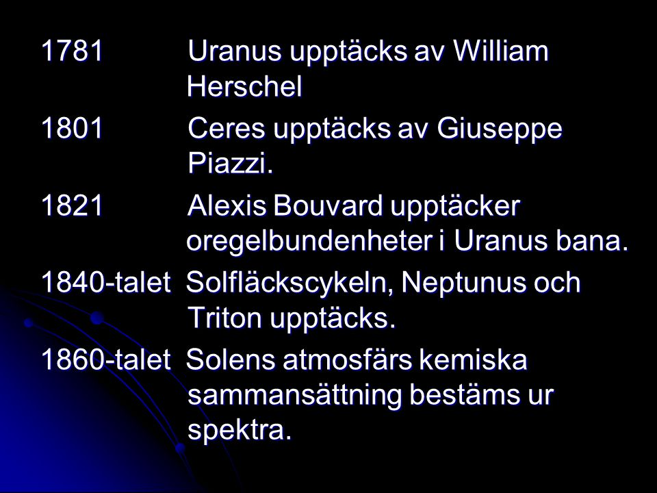 1781 Uranus upptäcks av William Herschel