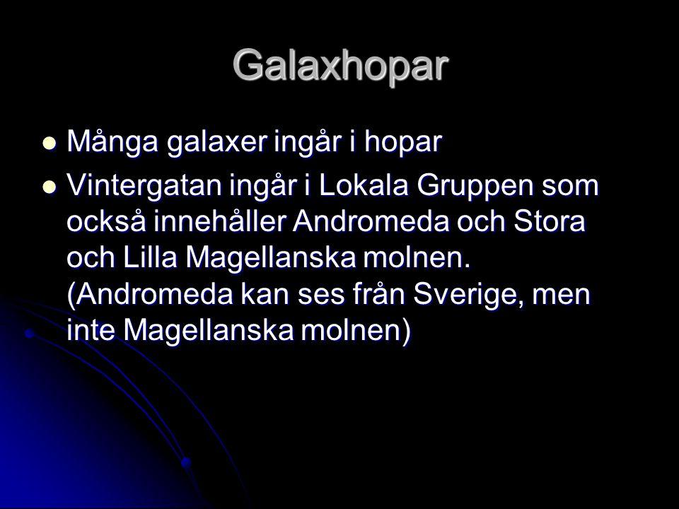 Galaxhopar Många galaxer ingår i hopar