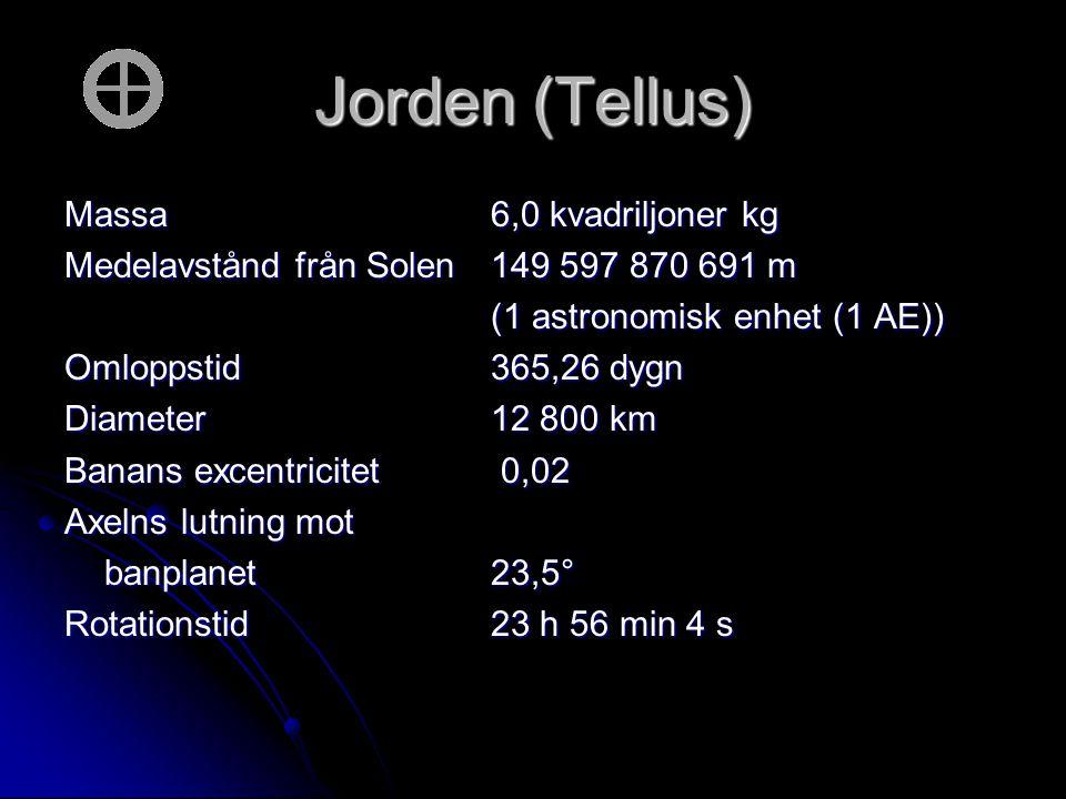 Jorden (Tellus) Massa 6,0 kvadriljoner kg
