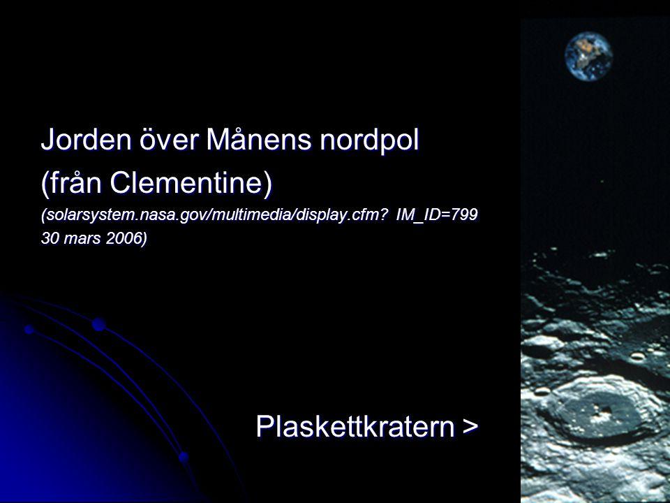 Jorden över Månens nordpol (från Clementine)