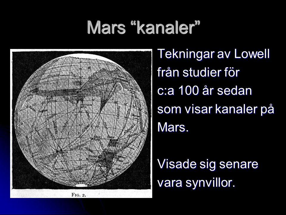 Mars kanaler Tekningar av Lowell från studier för c:a 100 år sedan