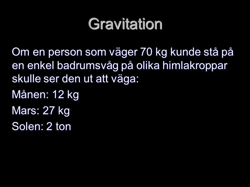 Gravitation Om en person som väger 70 kg kunde stå på en enkel badrumsvåg på olika himlakroppar skulle ser den ut att väga: