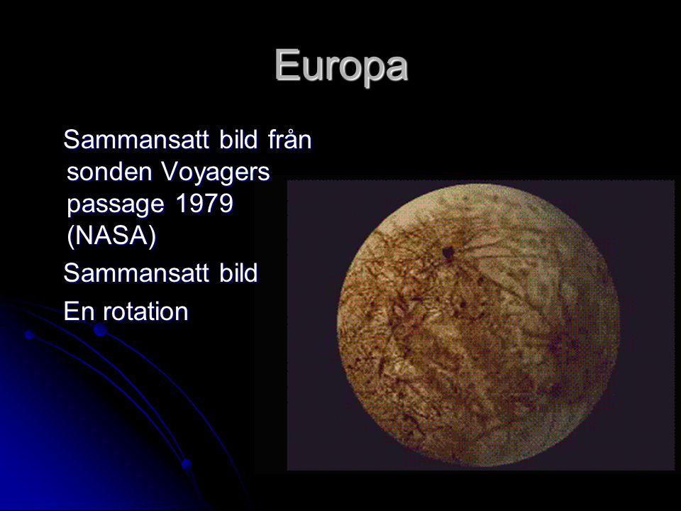 Europa Sammansatt bild från sonden Voyagers passage 1979 (NASA)