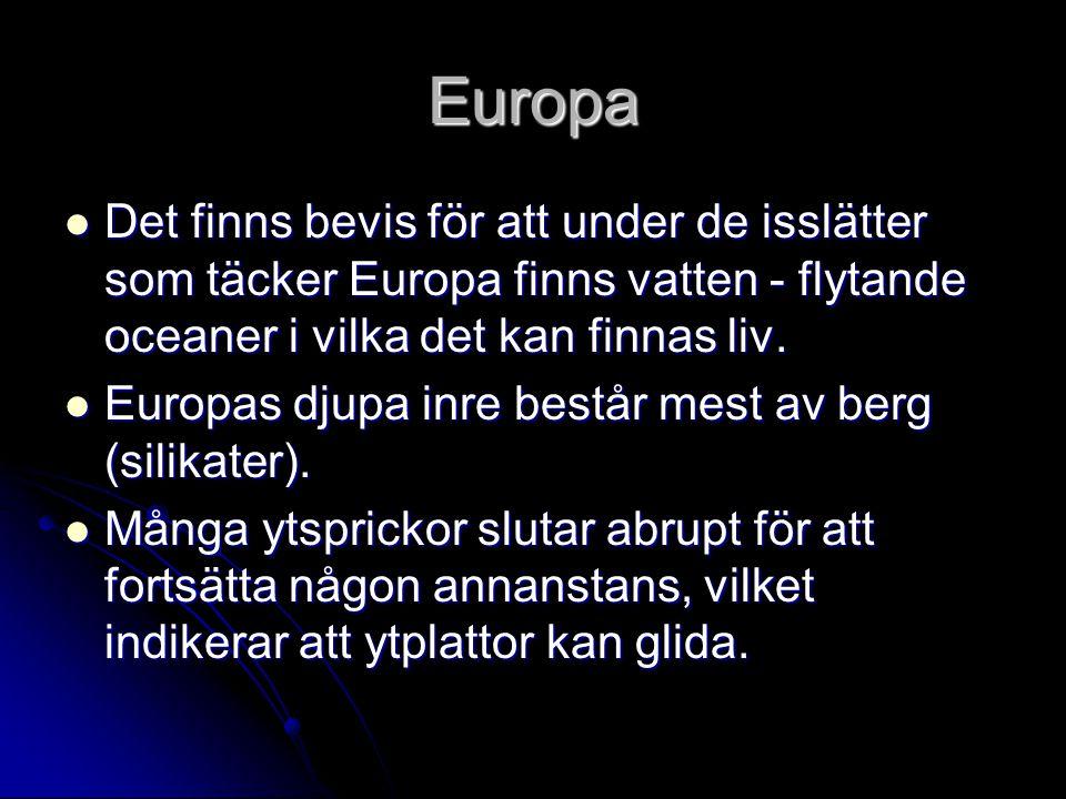 Europa Det finns bevis för att under de isslätter som täcker Europa finns vatten - flytande oceaner i vilka det kan finnas liv.