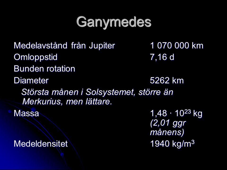 Ganymedes Medelavstånd från Jupiter 1 070 000 km Omloppstid 7,16 d
