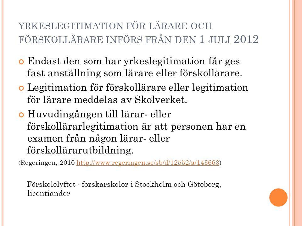 yrkeslegitimation för lärare och förskollärare införs från den 1 juli 2012