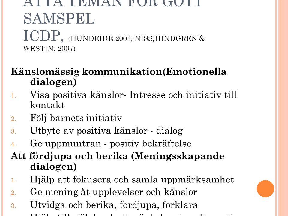 Åtta teman för gott samspel ICDP, (Hundeide,2001; Niss,Hindgren & Westin, 2007)