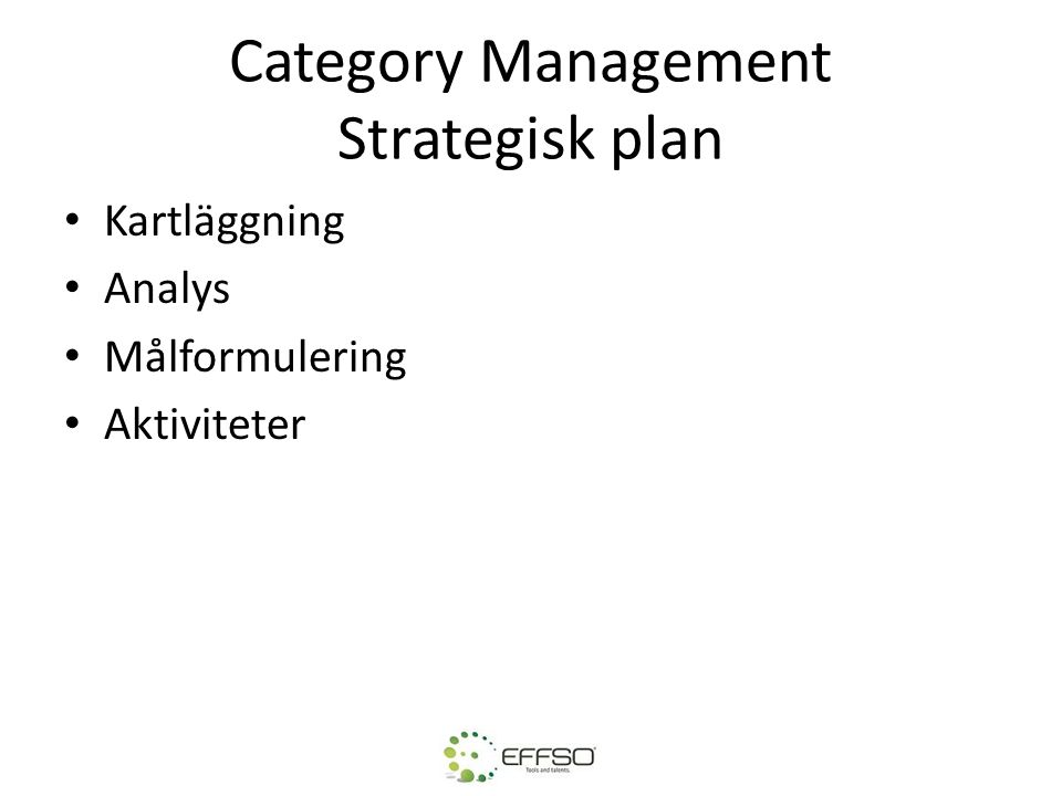 Category Management Strategisk plan
