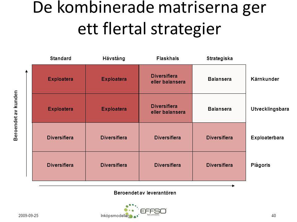 De kombinerade matriserna ger ett flertal strategier