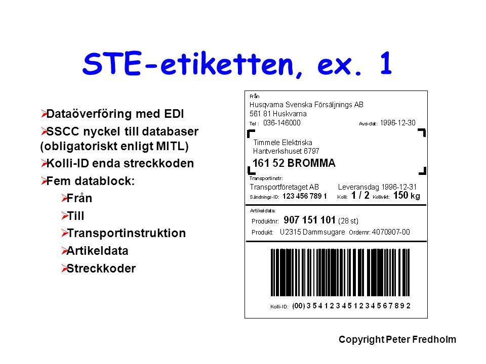 STE-etiketten, ex. 1 Dataöverföring med EDI
