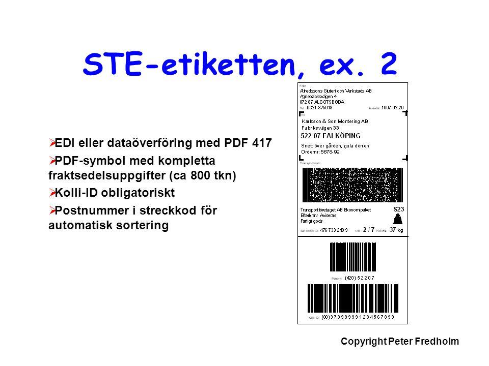 STE-etiketten, ex. 2 EDI eller dataöverföring med PDF 417