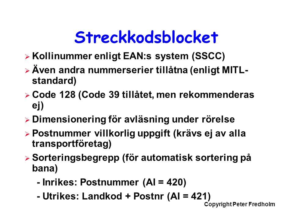 Streckkodsblocket Kollinummer enligt EAN:s system (SSCC)