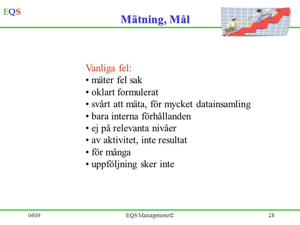 Mätning, Mål Vanliga fel: mäter fel sak oklart formulerat