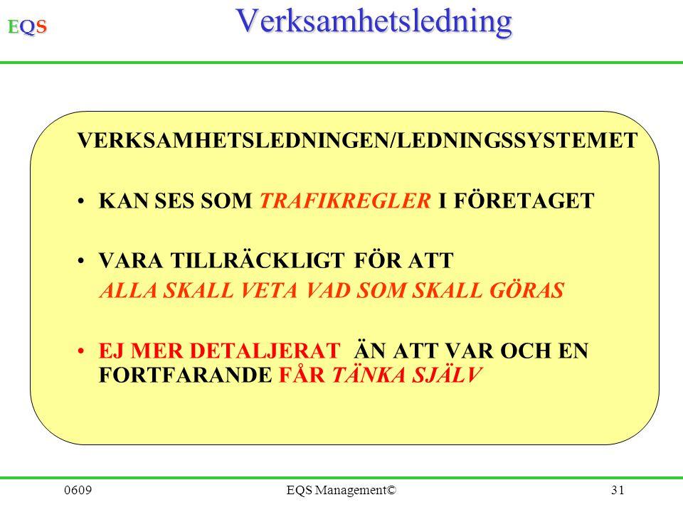 Verksamhetsledning VERKSAMHETSLEDNINGEN/LEDNINGSSYSTEMET