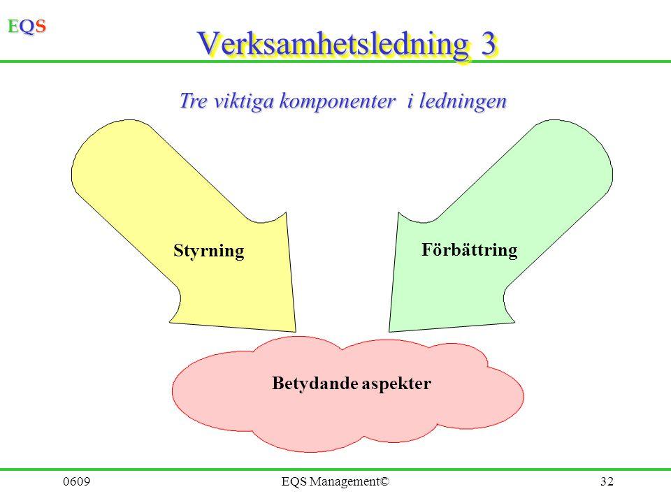 Verksamhetsledning 3 Tre viktiga komponenter i ledningen Styrning