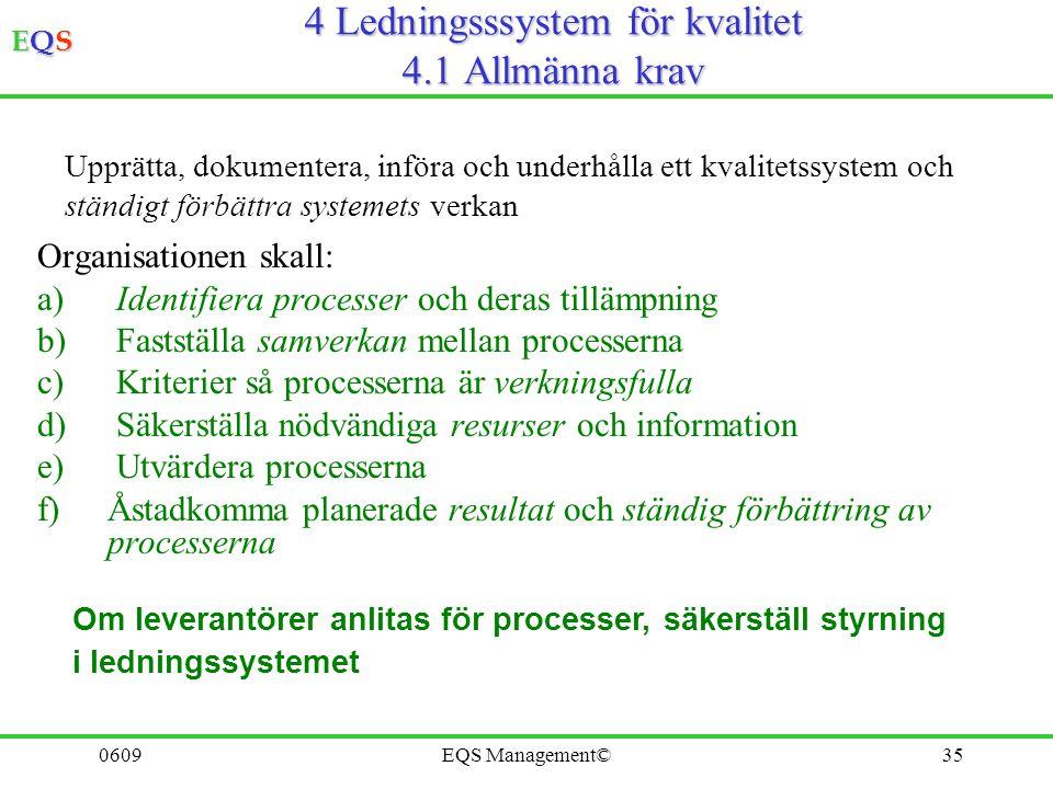 4 Ledningsssystem för kvalitet 4.1 Allmänna krav