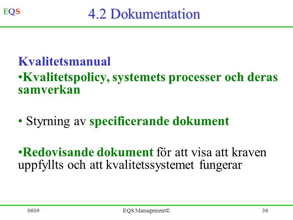 4.2 Dokumentation Kvalitetsmanual