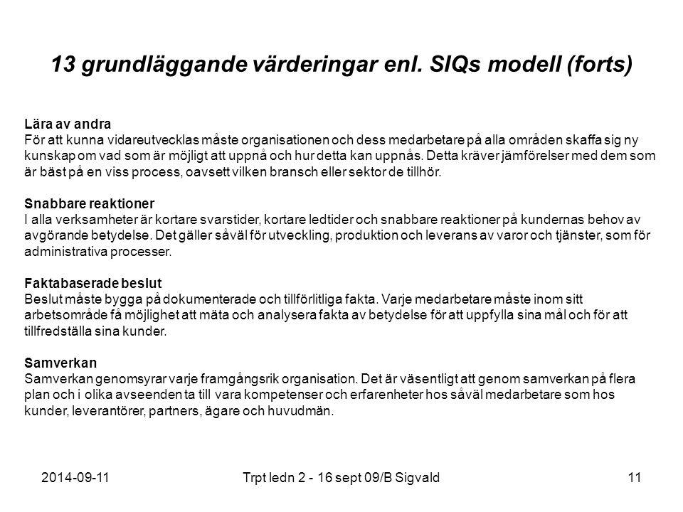 13 grundläggande värderingar enl. SIQs modell (forts)