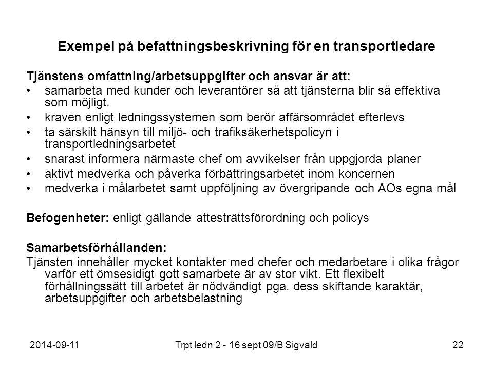 Exempel på befattningsbeskrivning för en transportledare