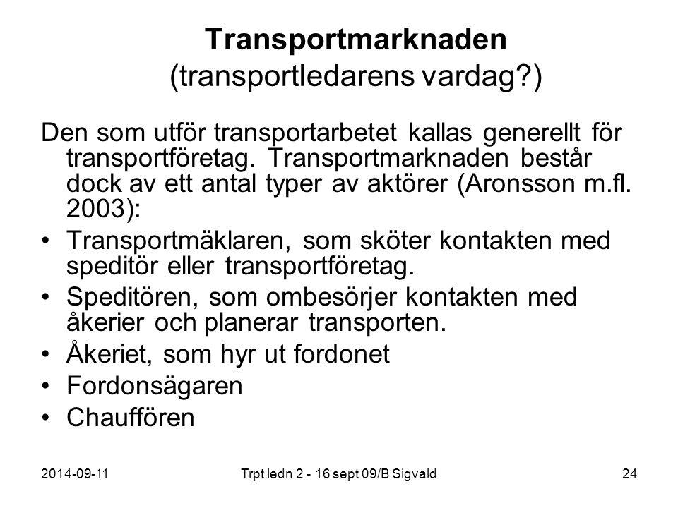 Transportmarknaden (transportledarens vardag )