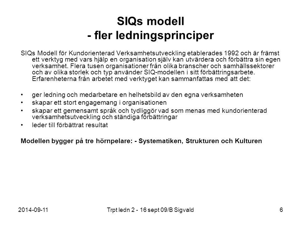 SIQs modell - fler ledningsprinciper