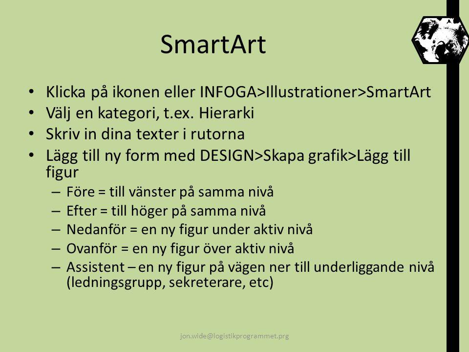 SmartArt Klicka på ikonen eller INFOGA>Illustrationer>SmartArt