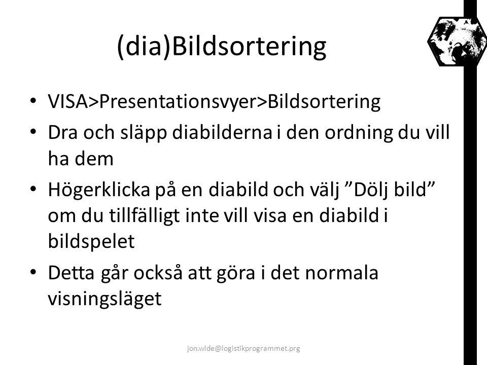 (dia)Bildsortering VISA>Presentationsvyer>Bildsortering