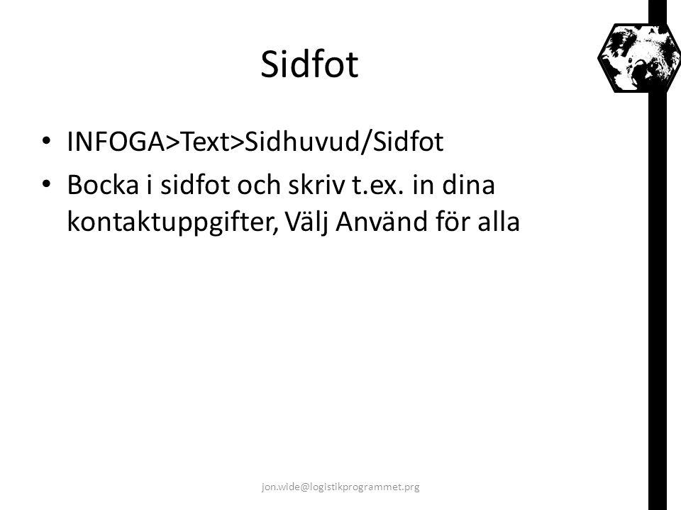Sidfot INFOGA>Text>Sidhuvud/Sidfot