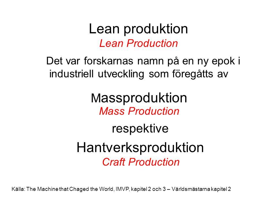 Lean produktion Lean Production Det var forskarnas namn på en ny epok i industriell utveckling som föregåtts av