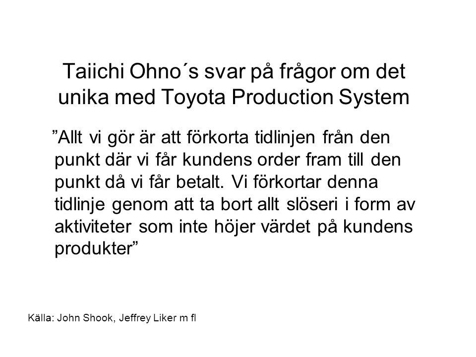 Taiichi Ohno´s svar på frågor om det unika med Toyota Production System