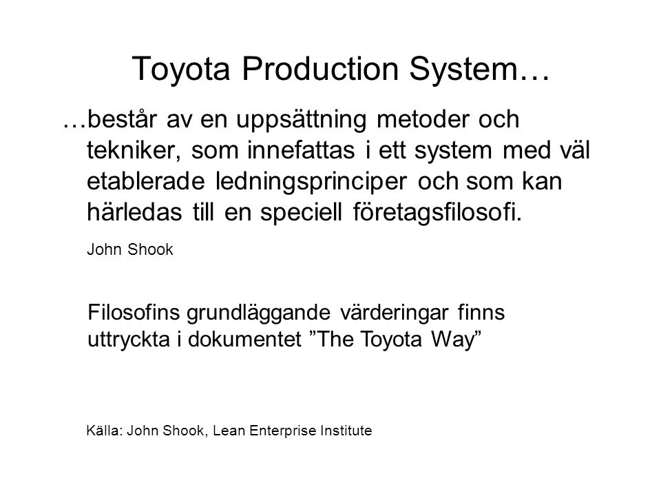 Toyota Production System…