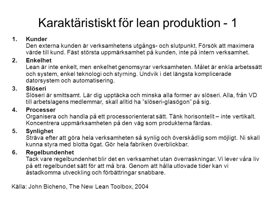 Karaktäristiskt för lean produktion - 1