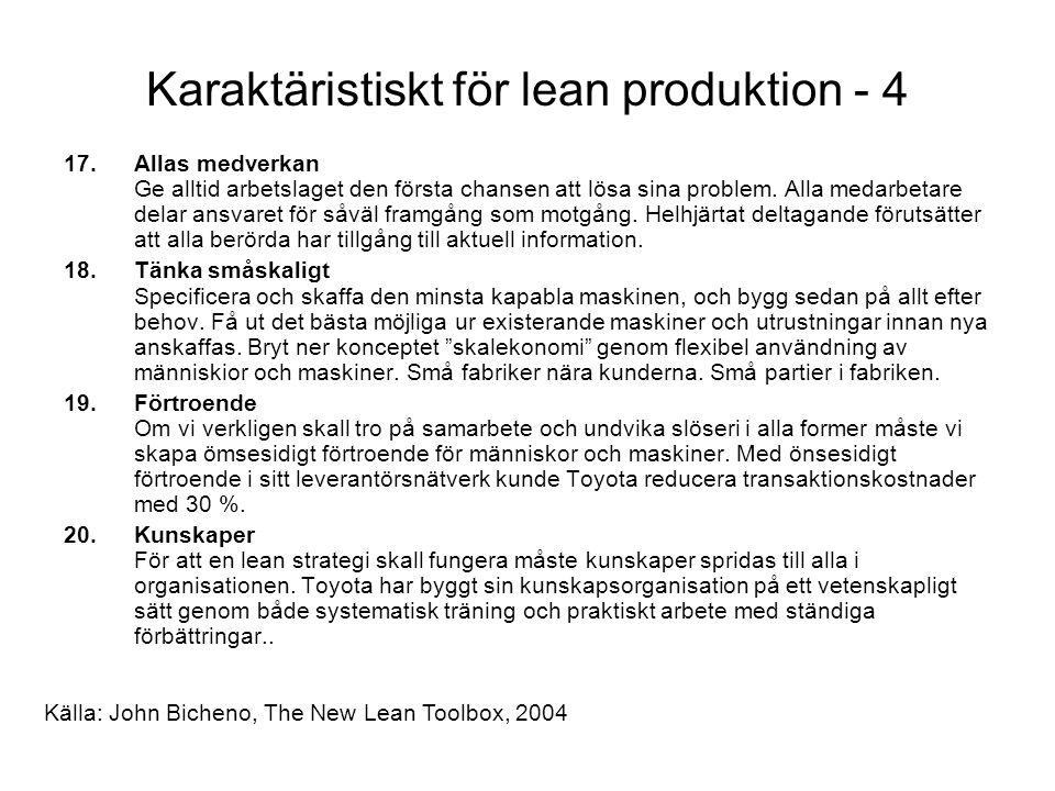 Karaktäristiskt för lean produktion - 4