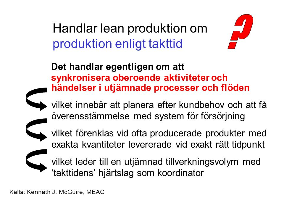 Handlar lean produktion om produktion enligt takttid