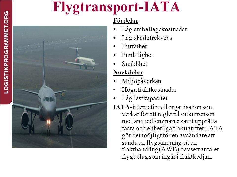 Flygtransport-IATA Fördelar Låg emballagekostnader Låg skadefrekvens