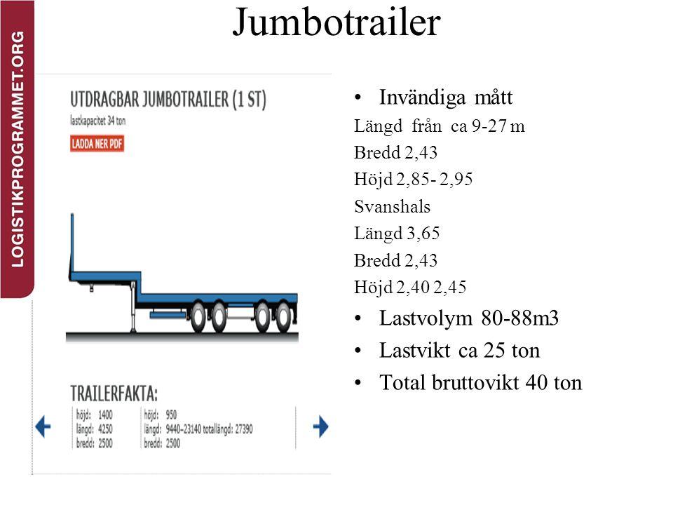 Jumbotrailer Invändiga mått Lastvolym 80-88m3 Lastvikt ca 25 ton
