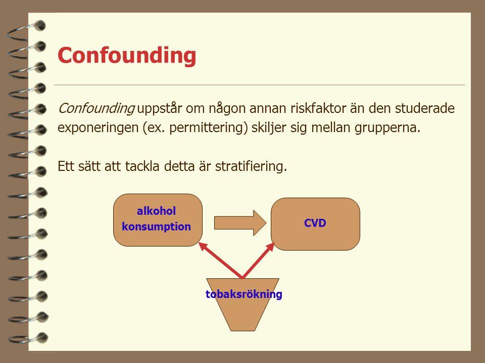 Confounding Confounding uppstår om någon annan riskfaktor än den studerade. exponeringen (ex. permittering) skiljer sig mellan grupperna.