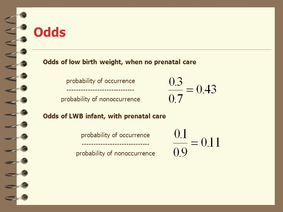 Odds Odds of low birth weight, when no prenatal care